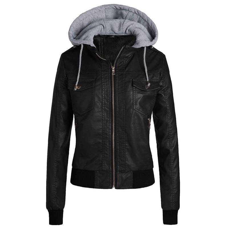 Winter Leather Jacket Women 2020 Casual Ladies Basic Jackets Coats Warm Plush Female Motorcycle Jack