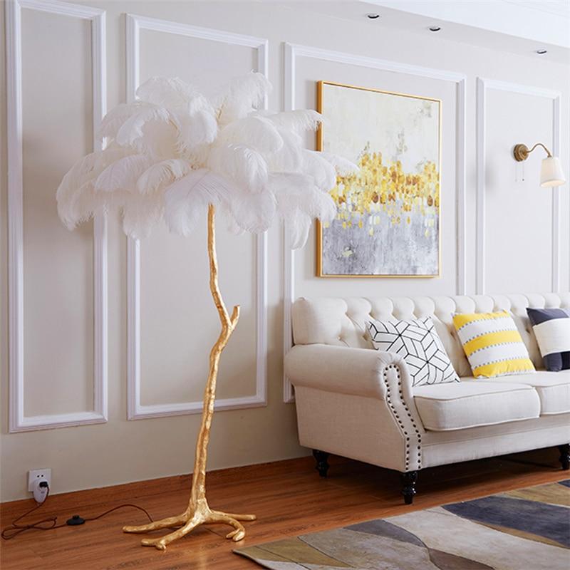 Nordic Ostrich Feather Floor lamp Modern Luxury Branch Floor Lamp Stand Light Floor lights for living room Lighting