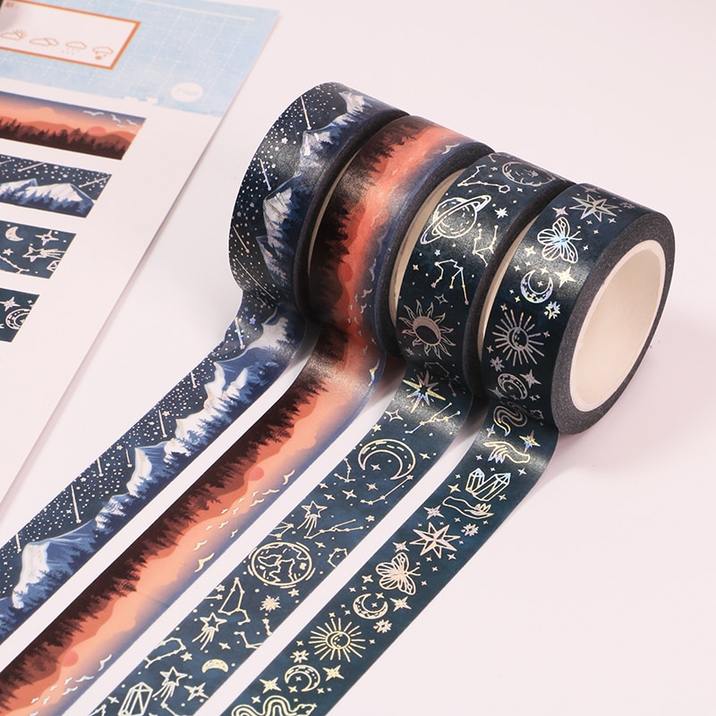 10m Sunset starry sky Decorative Adhesive Tape Silver foil Masking Washi Tape Diy Scrapbooking Sticker Label Japanese Stationery
