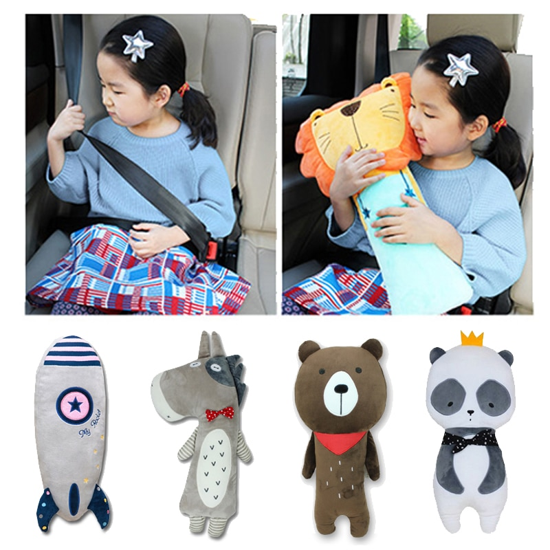 Cute Cartoon Car Seatbelt Cover Pillow Soft Plush Car Safety Belt Shoulder Pad for Children Kids Toy Doll Ornaments Girls Woman