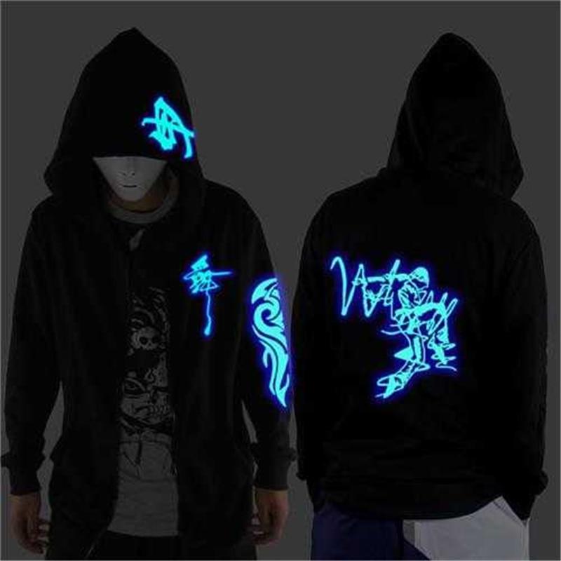 Ropa de calle de danza fantasma ropa de baile para hombres y mujeres sudadera de baile Shuffle luminosa chaqueta fluorescente ropa de danza fantasma con capucha