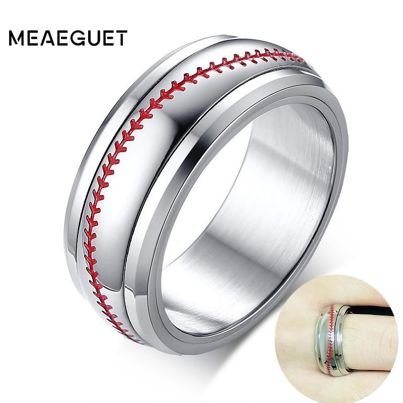 Спортивные Бейсбольные кольца, обручальные кольца с красной строчкой, комфортные, подходят для купола, серебристые, 8 мм, мужские кольца, Спи...