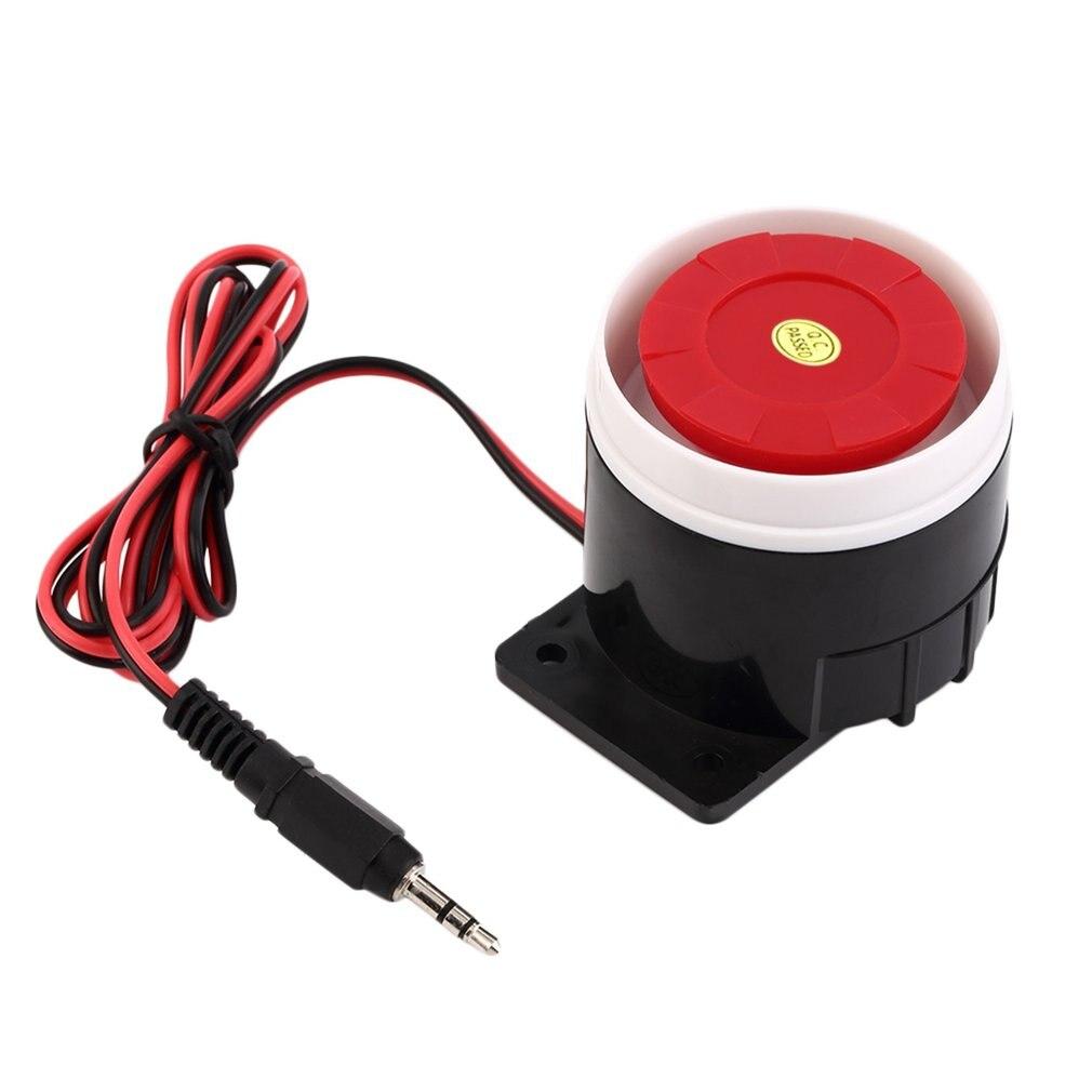 Sistema de alarma de sonido de 120dB, sirena de interior compacta de 12V CC con cable, Mini sirena resistente para la seguridad del hogar