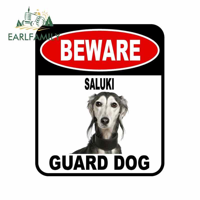 EARLFAMILY 13cm x 11cm cuidado SALUKI guardia pegatina de perro para coche cubierta de arañazos signo compuesto de estilo de coche para mascotas perro etiqueta