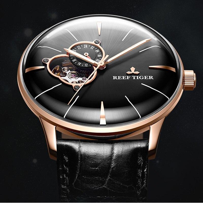 Nuevos relojes Reef Tiger/ET Dress para hombres, reloj de cuero negro, lente convexa, Tourbillon, relojes mecánicos automáticos, caja RGA8239