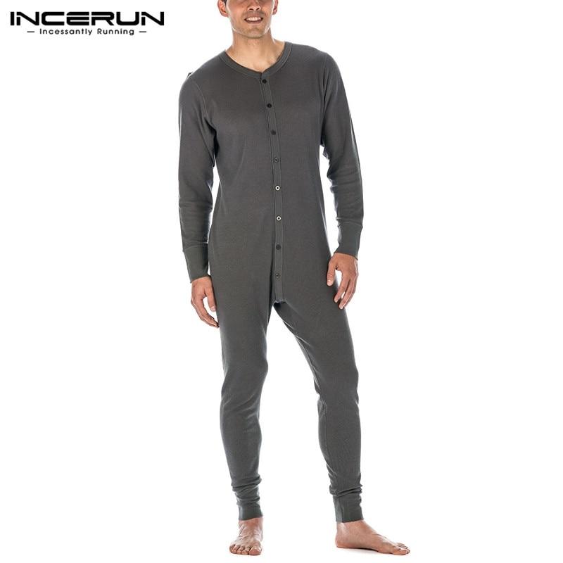 Sleepwear sleepwear sleepwear homens manga comprida com decote em v macacão homewea 5xl 7