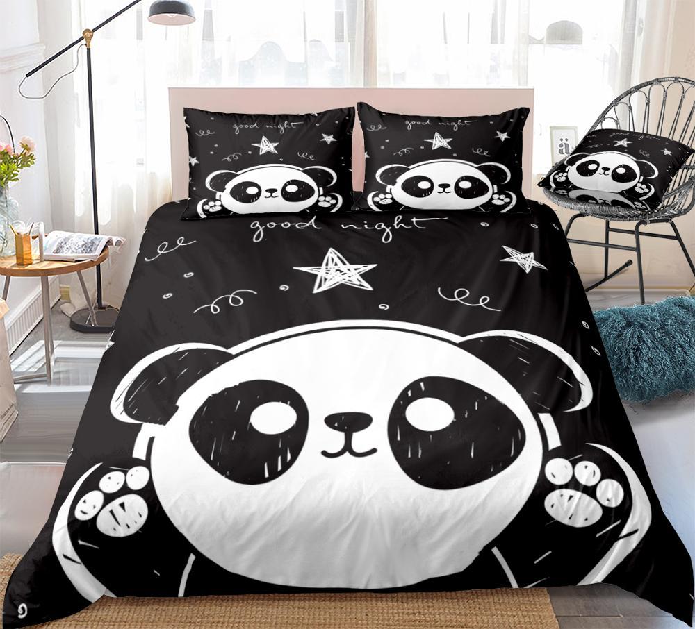 3 قطع الباندا حاف مجموعة غطاء الفراش الكرتون الحيوان الاطفال الفتيان  الفتيات طقم سرير أبيض أسود الباندا غطاء لحاف الملكة ستار دروبشيب-Leather bag