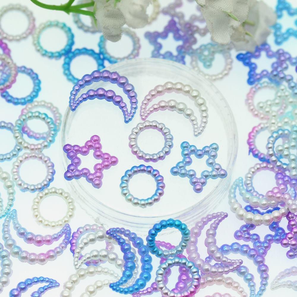 Mezcla aleatoria de perlas de ABS de Color de estrella-Luna-anillo-unicornio   Decoración de colección de recortes artesanales   Tarjetas agitadoras materiales de artesanía