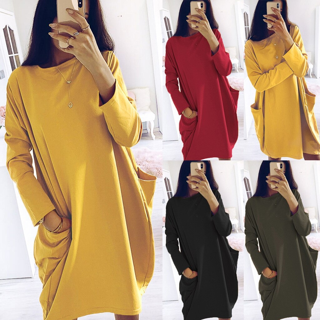 Simple Solid Colors Dress Plus Size Women Long Sleeve Pockets Tunic Top Ladies Loose Pullover Dress Female Streetwear vestidos