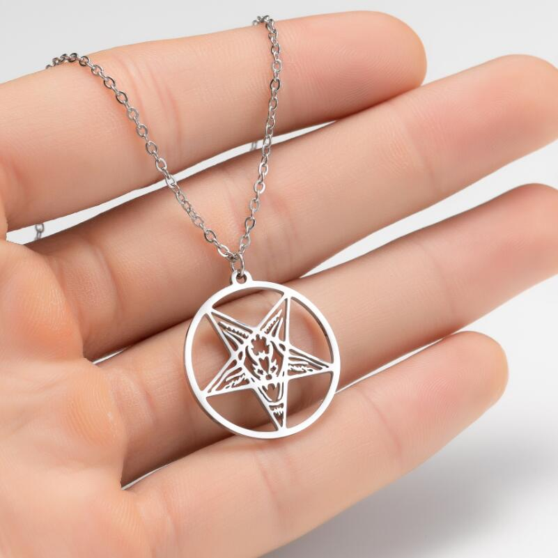 Satanic Jewelry Symbol Stainless Steel Satan Necklaces Pentagram Punk Round Charm Necklace Choker