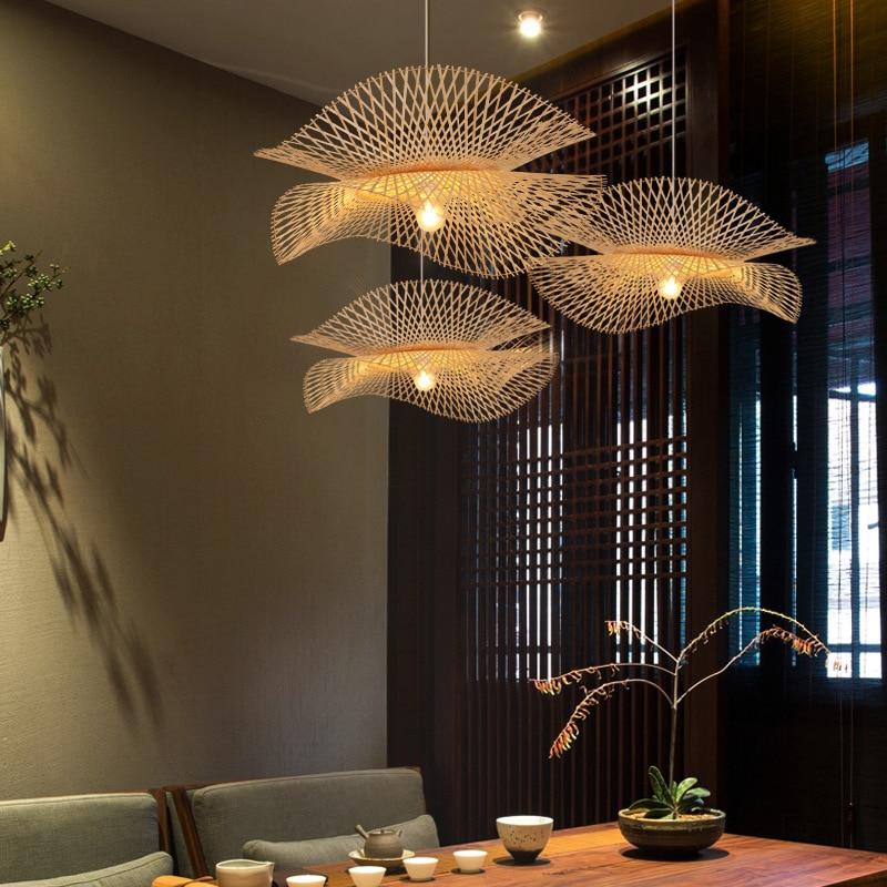 الحديثة الخيزران قلادة أضواء النمط الآسيوي اليدوية Hanglamp الإضاءة جزيرة المطبخ قلادة مصباح مطعم الثريات الإنارة