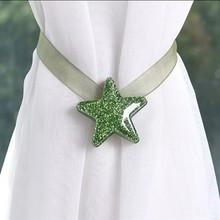 Rideau étoile à attache magnétique   Rideau à larrière avec boucle détoile, rideau décoratif de chambre à domicile X