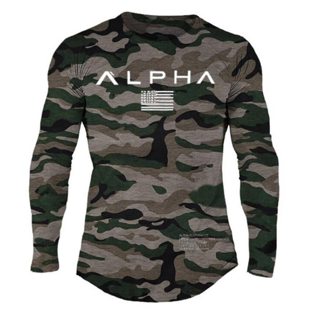 Camiseta de manga larga de camuflaje para hombre, camisetas deportivas para correr, camiseta de gimnasio, camiseta estampada para entrenamiento masculino, camisetas de marca
