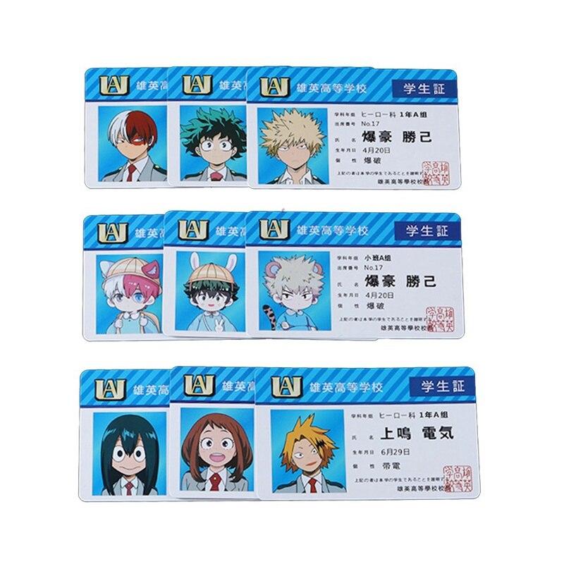 1PCS Anime Peripheral My Hero Academia PVC Student ID Card School Food Card