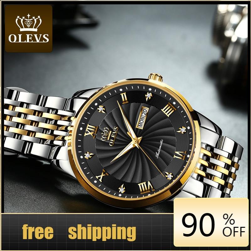 OLEVS الرجال ساعة ميكانيكية العلامة التجارية الفاخرة التلقائي ساعة الرياضة الفولاذ المقاوم للصدأ عشاق مقاوم للماء ساعة الرجال relogio masculino