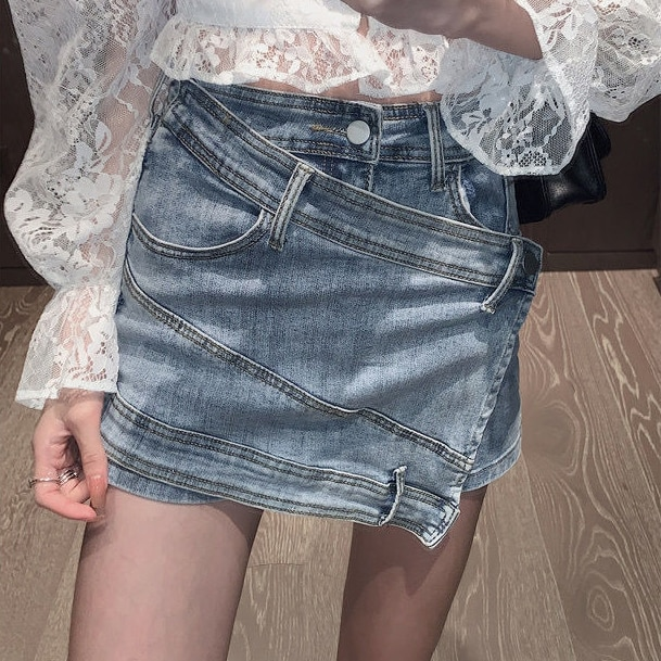 woman jeans womens distressed jeans  sexy ripped jeans for women slit jeans Fake Zippers Shorts Cotton JEANS