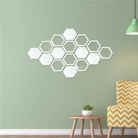 10pcsset diy 3d mirror wall stickers hexagon home decor mirror decor sticker mural removable living room decal art ornament hot