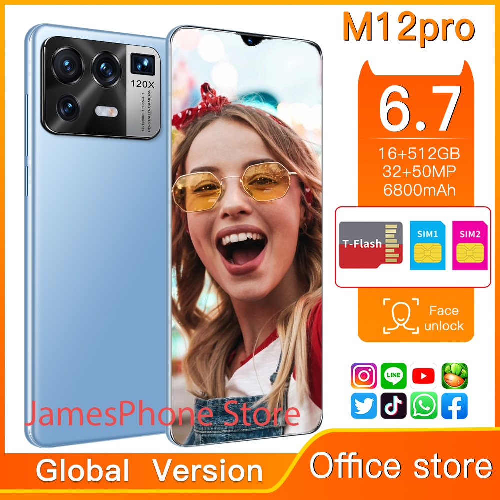 2021 New Smartpone M12pro Global Version Smartphonr 16G 512G Android11 Face ID Finger Print  6800mAh
