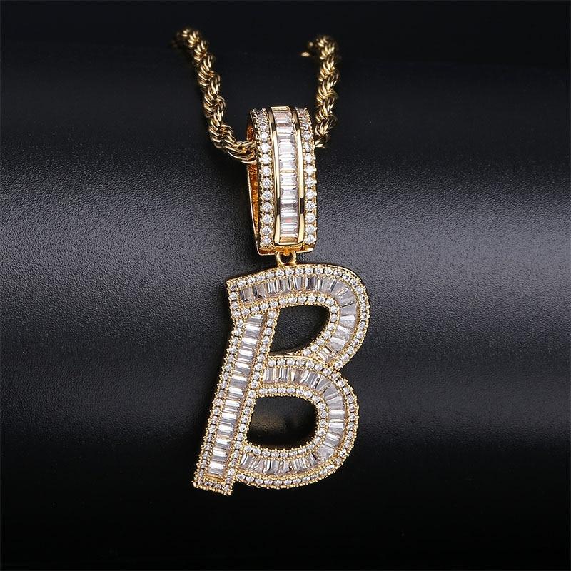 A-Z Gold Color Baguette Initials Letters Hip Hop Pendant Bling Zirconia Men Necklace Rock Chain Fashion Jewelry