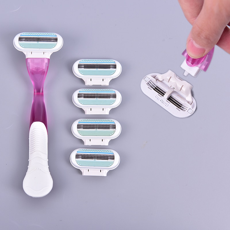 NEW 1Hand Razor(with 4 Head) Safety Beauty Manual Stainless Steel Blade Women Shaver Razor Replaceme