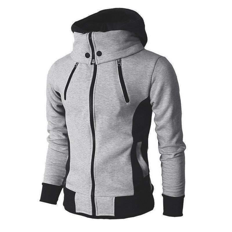 Fall/Winter New Mens Jacket 2020 Fashion Zipper Hoodie Fake Two Piece Cardigan Bomber Scarf Collar Slim Sweater