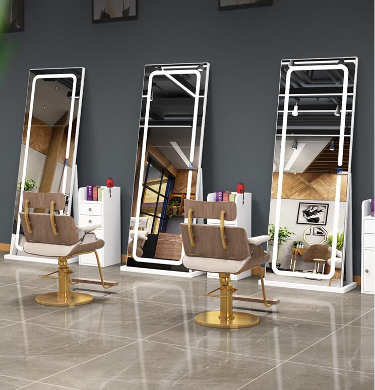 Твердой древесины простой интернет-знаменитость зеркало для парикмахерской посадки стены двустороннее зеркало светодиодный освещение зе...