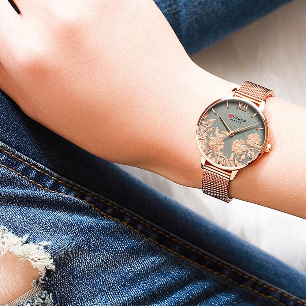 Curren Women Watches Luxury Brand Ladies Quartz Watch 3D Flower Rose Gold Stainless Steel Bracelet Fashion Wristwatches Female enlarge