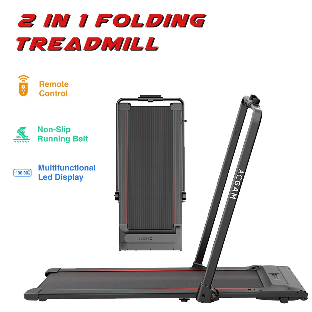 ACGAM T02P 2 in 1 Folding Treadmill Under Desk Electric Treadmill Indoor Exercise Gym Equipment LED Display Walking Machine