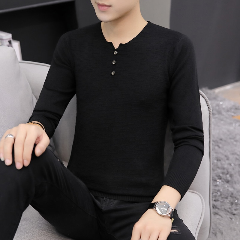 New Korean Spring Pullover Men Button Knit Sweater Mens High Quality Multicolor Pullover Clothing Male Warm Breathable Sweaters