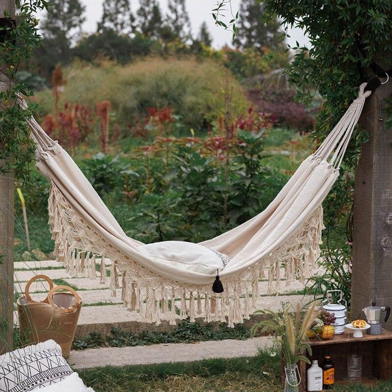 كرسي أرجوحة بشراشيب بوهو مزدوج ، كرسي أرجوحة شبكي معلق برازيلي للحديقة للنزهات ، كرسي بدون وسادة