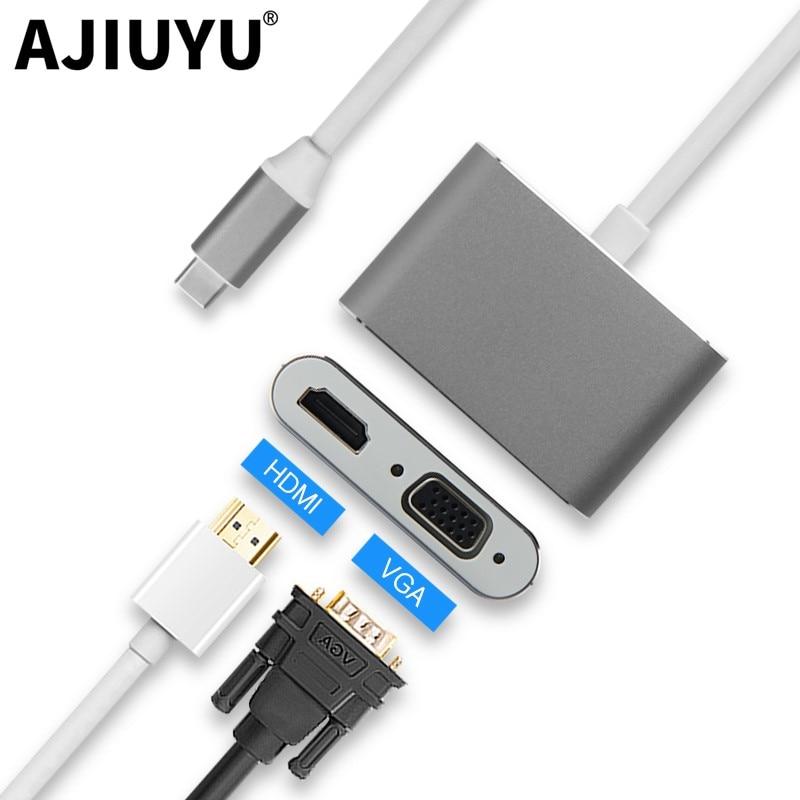 AJIUYU USB tipo C a HDMI concentrador VGA Adaptador tipo-C Dock para MacBook Pro/aire USB-C 3,1 Multi Puerto USB 3,0 divisor conectar el proyector de la TV