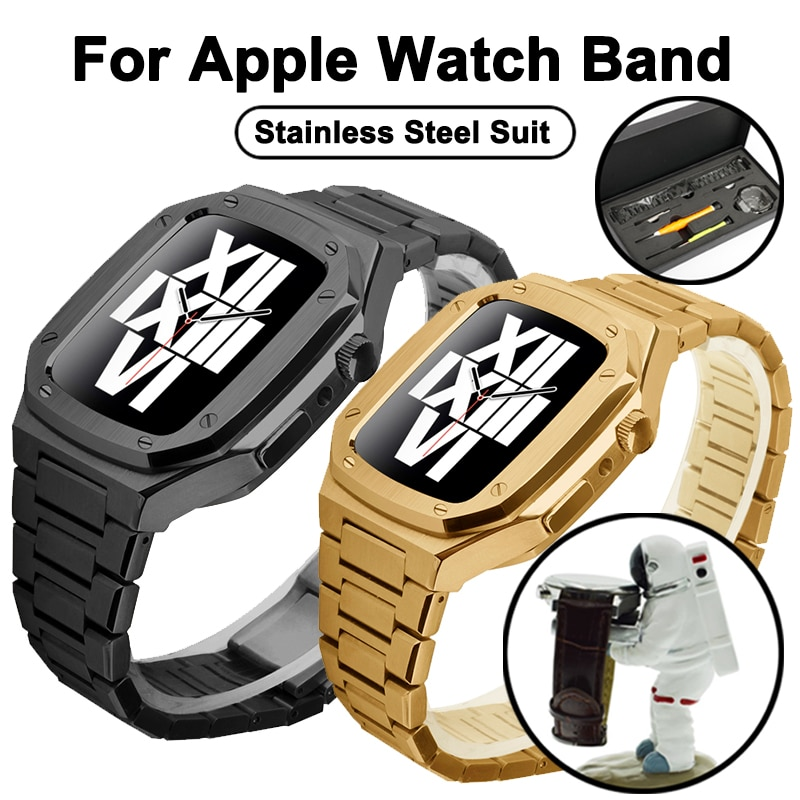 44mm For iWatch Series 6 SE 6 5 Metal smart WatchBand Stainless steel set Watch Case with RepairTools bracelet sports Wristbands