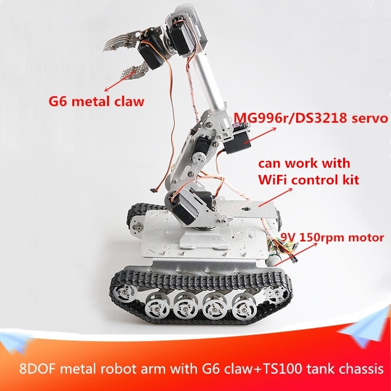 With G6 Claw 8DOF Metal Robot Arm+TS100 Tank Chassis Car Kit 9V DC Motor Two Types Servo for Choose