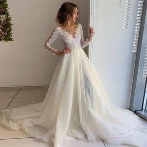 NUOXIFANG Illusion Tulle Scoop Neck Ivory Wedding Dress with white Lace Pearls Belt Sweep Train Bridal Dress Vestido de novia