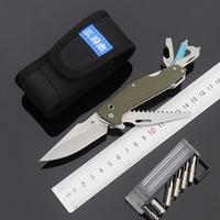 Sanrenmu 7116 Outdoor EDC Pocket Knife with Multi Functional Tool Saw Belt Cutter Glass Breaker Screwdriver Bit and Nylon Sheath