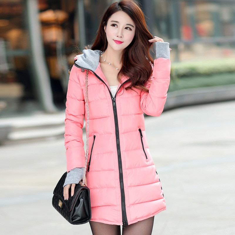 سترة معطف نسائي طويل ومتوسط دافئ بقلنسوة للخريف والشتاء سترة نسائية مبطنة بالقطن