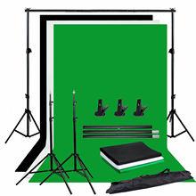 ZUOCHEN Photo Studio toile de fond Chroma clé noir blanc vert écran Kit de Support de fond avec 2M Studio toile de fond Kit de Support