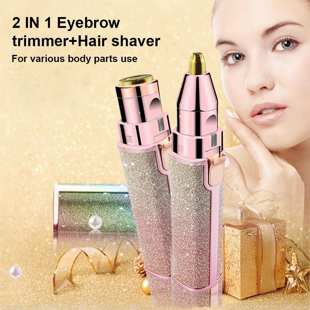 2 In 1 Electric Eyebrow Trimmer Makeup Painless Mini Electric Shaver Razor Woman USB Rechargeable Portable Hair Remover Machine enlarge