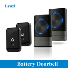 Lynzl Welcome Home Bell Battery Led Flash Loud 45Melodies 4Level Volume 3 Receivers Wireless Doorbel
