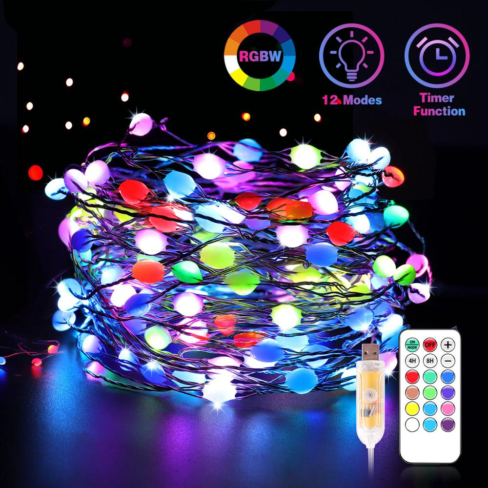 Led grande queda luzes de fadas fio cobre sonho cor controle remoto usb para decoração natal 12 modos temporizador led corda