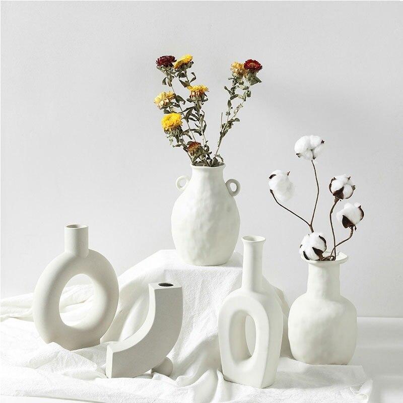 Vases à fleurs en céramique nordique décoration de la maison ornements blanc plante Pot Art décor artisanat Vase de mariage pour centres de table