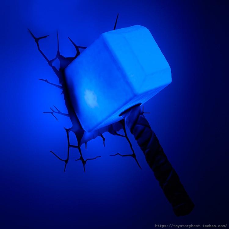 Disney Marvel Thor's Hammer 3D Night Light Wall Lamp Atmosphere Light Kids Bedroom Sleep Lamp Room decor