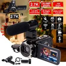 2.7K kamera video kamera Wifi IR gece görüş 30MP 3.0 inç LCD HD ekran Time-lapse fotoğraf kamera 16X dijital Zoom