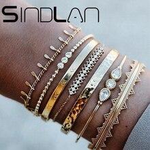 Sindlan 7 pièces Vintage or perles Bracelet ensemble pour les femmes Boho géométrique ouvert bracelets avec strass mode femme poignet bijoux