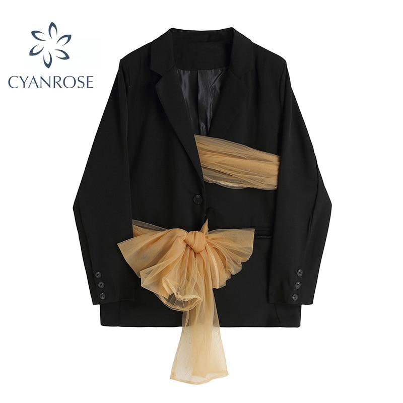 جديد السترة معطف المرأة العصرية الشعور تصميم ملابس خارجية الشاش القوس حزام 2021 الخريف طويلة الأكمام الإناث شيك الخصر إغلاق سترة
