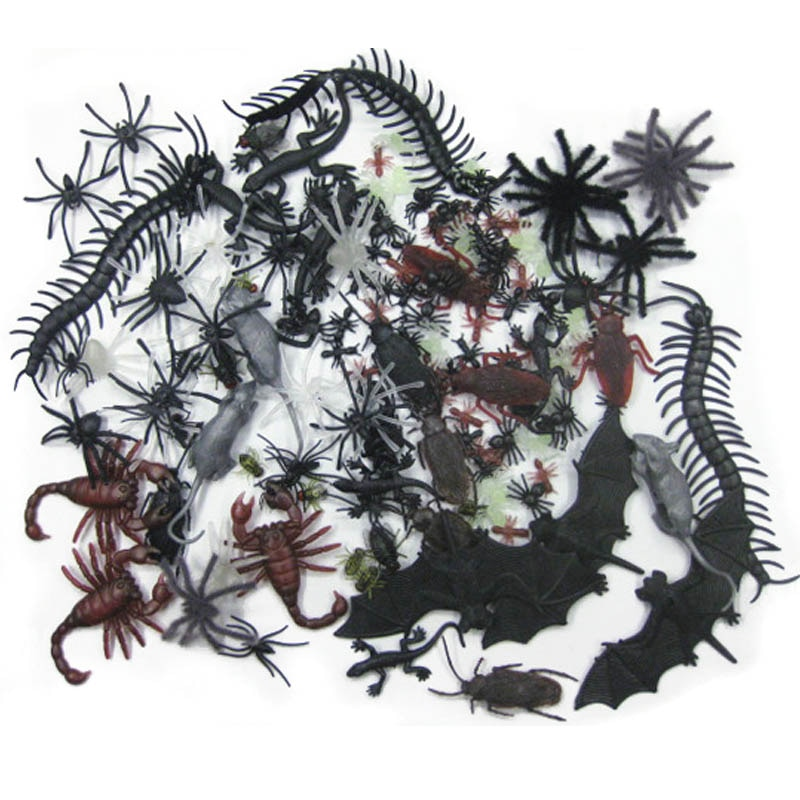 44/36/30/48 piezas novedad y juguetes de mordaza accesorios de broma fiesta de Halloween Favor bonito regalo simulación divertido falsa araña murciélago escorpión de plástico