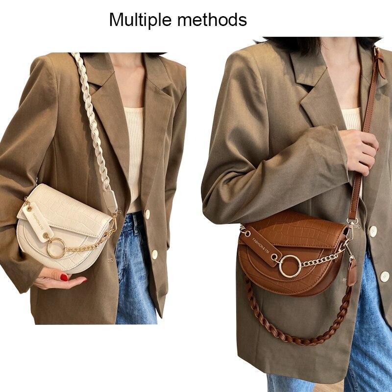 Ansloth Vintage Crocodile Pattern Design Crossbody Bags Female 2021 New Trendy Saddle Bags Shoulder Bags PU Leather Bags HPS1096