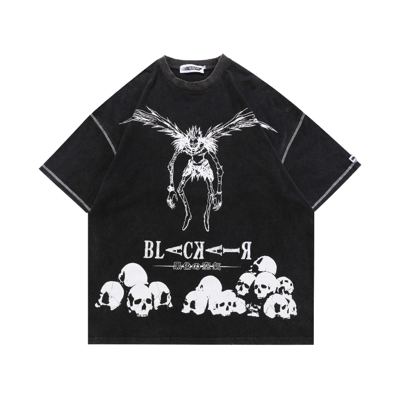 Anime Two-Dimensional Skull Print Retro Men T Shirt Washed Death Note Manga Short Sleeve Tshirt Dress Women Alternative Clothing