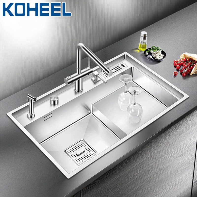 KOHEEL lavabo de lujo piso de hundir grandes de fregadero de cocina de acero inoxidable única cubeta sobre barra de Bar cepillado se hunde FKS15