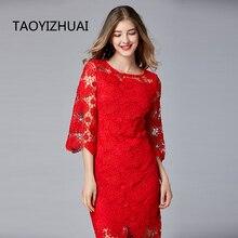 TAOYIZHUAI sonbahar kış yüksek sokak stili uzun dantel kadın elbise kırmızı renk imparatorluk bel slim lüks flare kollu vestidos